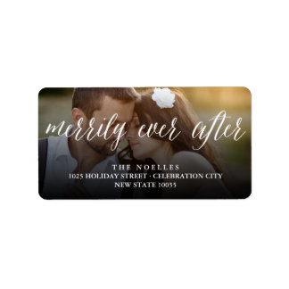Merrily Ever After Christmas Holiday Photo Labels