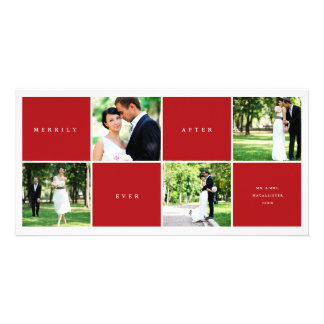 Merrily Ever After Color Blocks Photo Collage Card