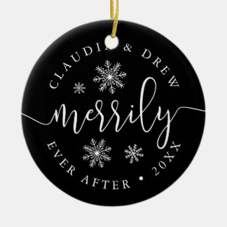 Merrily Ever After | Double-Sided Newlywed Ceramic Ornament