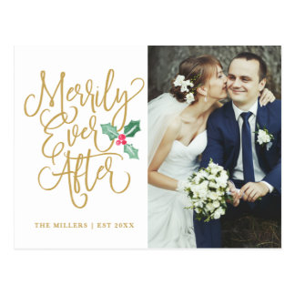 Merrily Ever After Holiday Photo Thank You Gold Postcard