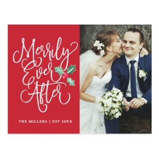 Merrily Ever After Holiday Photo Thank You Postcard