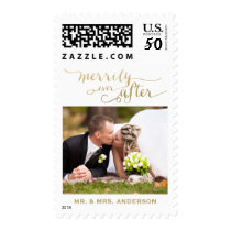 Merrily Ever After Married | Holiday Photo Postage