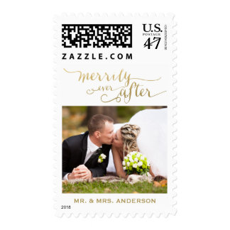 Merrily Ever After Married | Holiday Photo Stamp