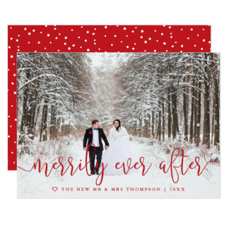Merrily Ever After   Newlywed Holiday Photo Card