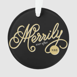 Merrily Ever After Script Christmas Photo Ornament