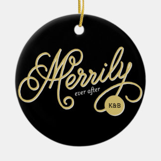 Merrily Ever After Script Photo Christmas Ornament