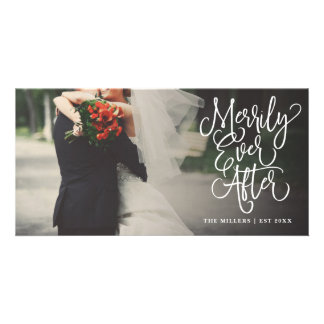 Merrily Ever After Wedding Holiday Full Photo Card