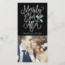 Merrily Ever After Wedding Holiday Photo | Black