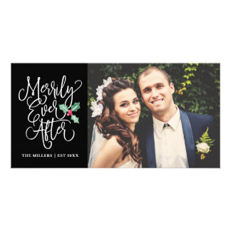 Merrily Ever After Wedding Holiday Photo   Black Card