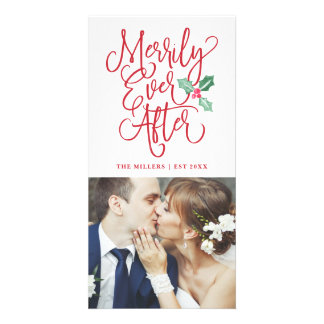 Merrily Ever After Wedding Holiday Photo Card