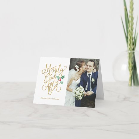 Merrily Ever After Wedding Holiday Photo Folded