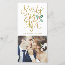 Merrily Ever After Wedding Holiday Photo | Gold