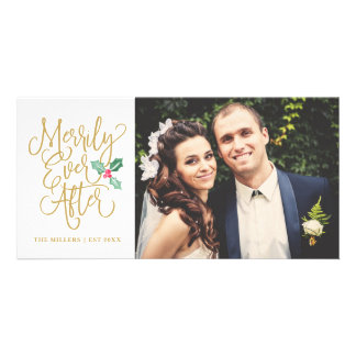 Merrily Ever After Wedding Holiday Photo   Gold Card