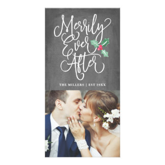 Merrily Ever After Wedding Holiday Photo   Grey Card