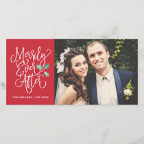 Merrily Ever After Wedding Holiday Photo | Red