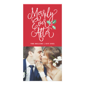 Merrily Ever After Wedding Holiday Photo   Red Card