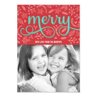 """Merrily Illustrated Holiday Photo Cards 5"""" X 7"""" Invitation Card"""