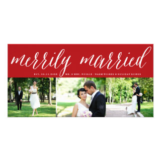 Merrily Married 1st Christmas Photo Collage Card