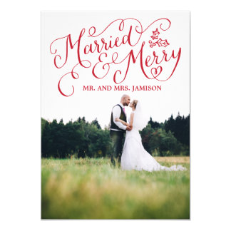 Merrily Married and Merry Christmas Photo Card
