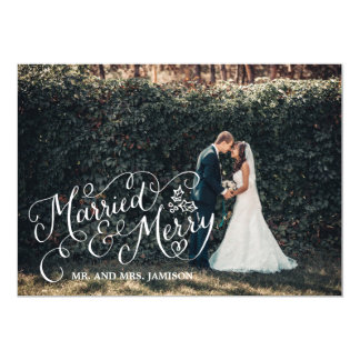 Merrily Married and Merry Holiday Photo 5x7 Paper Invitation Card