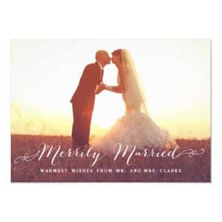 """Merrily Married Christmas Photo Holiday Card 5"""" X 7"""" Invitation Card"""