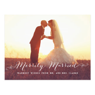 Merrily Married Christmas Photo Holiday Postcard