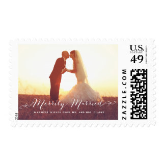 Merrily Married Christmas Photo Holiday Stamp