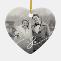 Merrily Married Christmas Wedding Photo Ornament