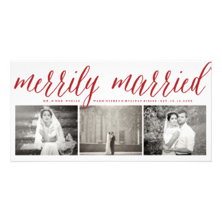 Merrily Married Couple First Christmas Photo Card