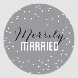 Merrily Married Couple Holiday Classic Round Sticker
