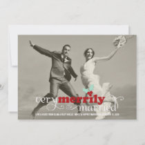 Merrily Married First Christmas Holiday Photo Card
