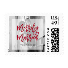 Merrily Married Photo with Overlay Postage