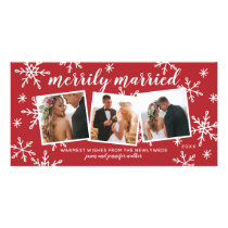 Merrily Married Snapshots Holiday Photo Card