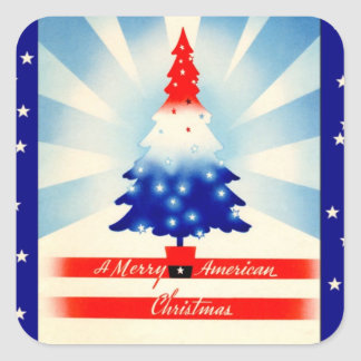 Merry American Christmas vintage art square Stickers