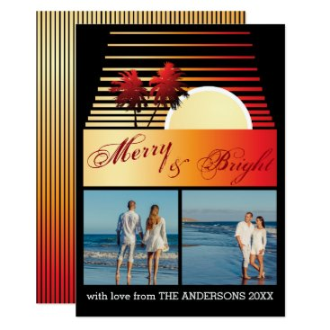 Beach Themed Merry and Bright Beach Palm Sunset Photo Collage Card