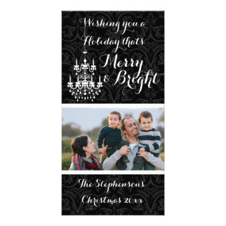Merry and Bright Black Chandelier Holiday Card