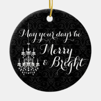 Merry and Bright Black Chandelier Holiday Ceramic Ornament