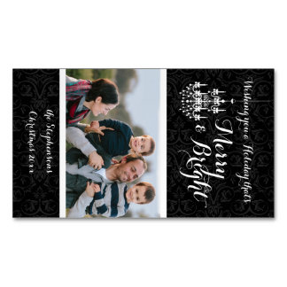 Merry and Bright Black Chandelier Holiday Magnetic Business Card