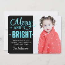 Merry and Bright Blue Modern Holiday Photo Card