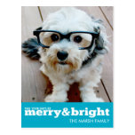 Merry and Bright Bold Modern Holiday Photo Card Postcards