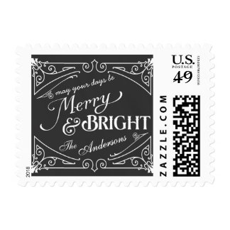 Merry and Bright Chalkboard Elegant Retro Postage
