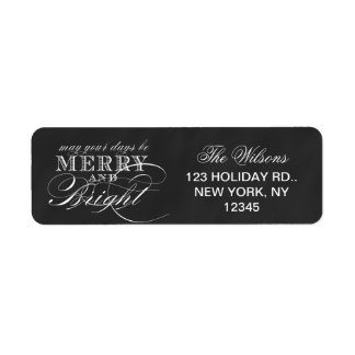 MERRY AND BRIGHT   CHALKBOARD HOLIDAY LABEL