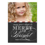 "MERRY AND BRIGHT, CHALKBOARD, PHOTO HOLIDAY 5"" X 7"" INVITATION CARD"
