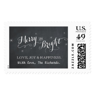Merry and Bright - Chalkboard Postage