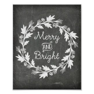 Merry and Bright Chalkboard Rustic Christmas Sign Poster
