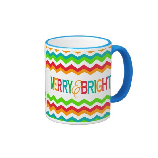 Merry and Bright Chevron Holiday | Bold Colors Mug