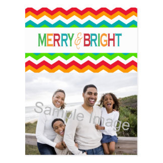 Merry and Bright Chevron Holiday | Bold Colors Postcard