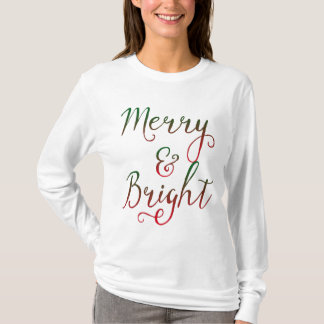 Merry and Bright Christmas Calligraphy T-Shirt