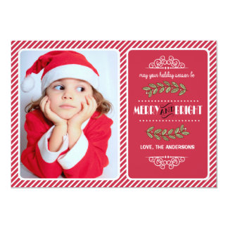 Merry and Bright Christmas. Custom Photo Cards