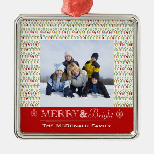 Merry and bright Christmas family photo ornament